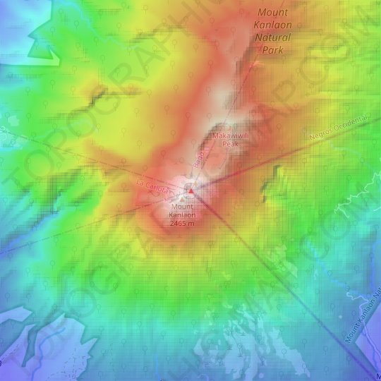 Carte topographique Kanlaon, altitude, relief